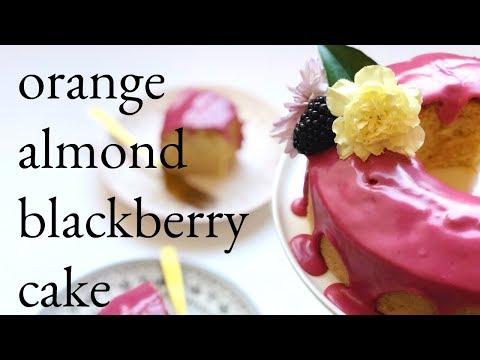 Orange Almond Cake with Blackberry Icing