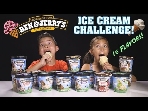 ICE CREAM CHALLENGE!!! Ben & Jerry's 16 Flavor Taste Test!