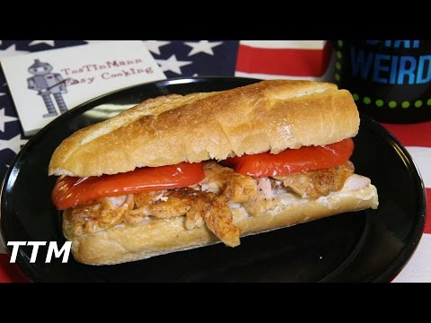 Easy Baked Chicken~Spicy Chicken Sandwich with Roasted Red Pepper