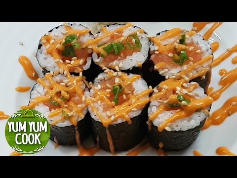 Spicy Salmon Sushi Roll   Spicy Mayo Sauce   YumYumCook