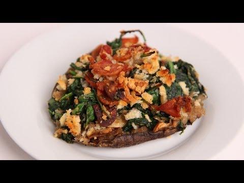 Bacon & Spinach Stuffed Portobello Mushrooms Recipe - Laura Vitale - Laura in the Kitchen Ep 401