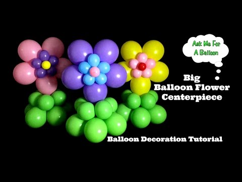 Big Flower Balloon Centerpiece Tutorial - Baby Shower Kids Birthday Party Decoration Idea