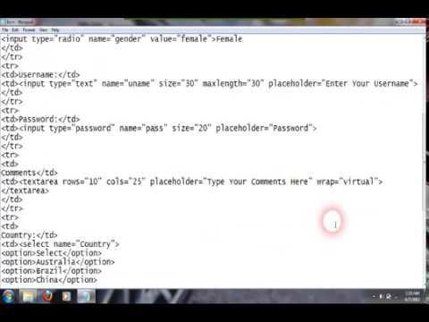 HTML Tutorials: HTML Forms - User Registration Form