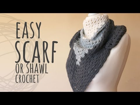 Tutorial Crochet Shawl or Scarf Easy for Beginners