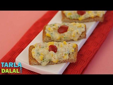 Corn and Cheese Toast, Cheese Corn Toast  by Tarla Dalal