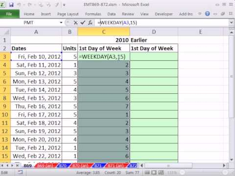 Excel Magic Trick 869: Formula Calculate First Day of Week 2010 & 2003 Formula WEEKDAY Function