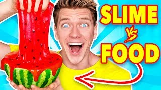 Making FOOD out of SLIME! Learn How To Make DIY Mystery Slime vs Real Edible Candy Challenge