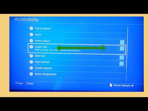 How to make text  larger on PS4 screen
