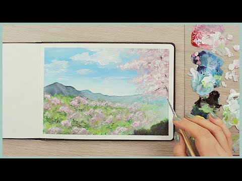How to Paint a Cherry Blossom Scenery with Acrylics for Beginners | Art Journal Thursday Ep. 37
