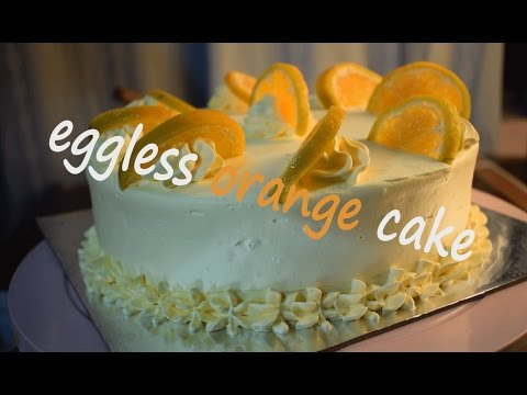 eggless orange cake with frosting | egg less recipe