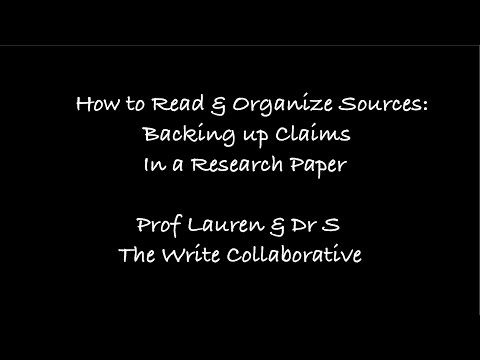 How to Read & Organize Sources for a Research Paper