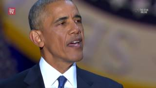 Obama tears up as he thanks family and Joe Biden in farewell speech