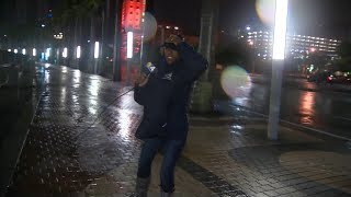 Heavy winds from Hurricane Irma blows reporter away