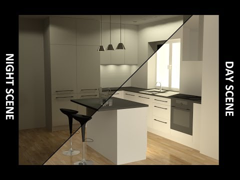 3D Basic Kitchen in AutoCAD - Rendering