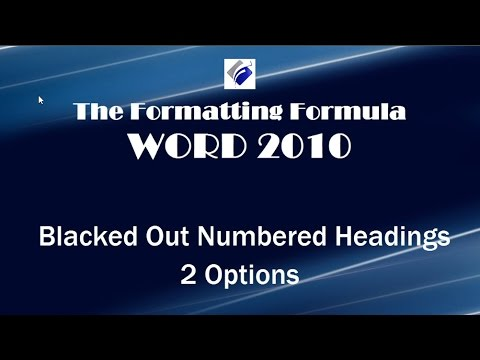 Word  2010   Black Out Numbered Headings   2 Options