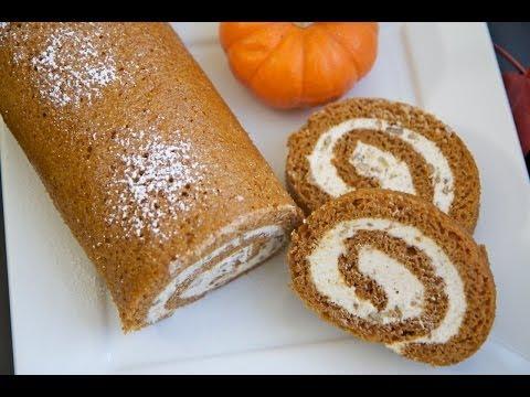 Easy Pumpkin Cake Roll w/ Cinnamon Pecan Cream Cheese Filling