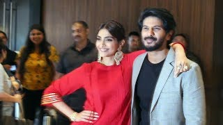 Sonam Kapoor With Dulquer Salmaan Promoting Their Film The Zoya Factor At Juhu
