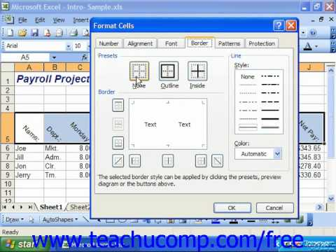 Excel 2003 Tutorial The Border Tab Microsoft Training Lesson 7.6