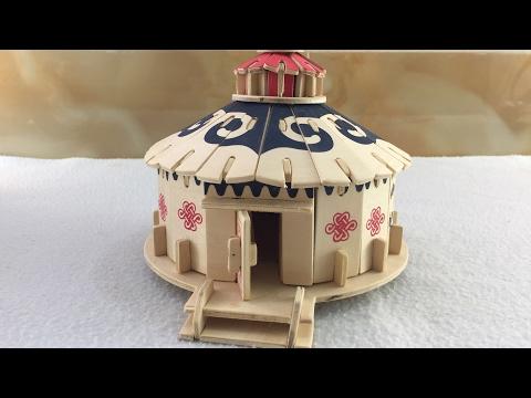 Wood Craft Construction Kit DIY, How to make a wooden Mongolian Yurt