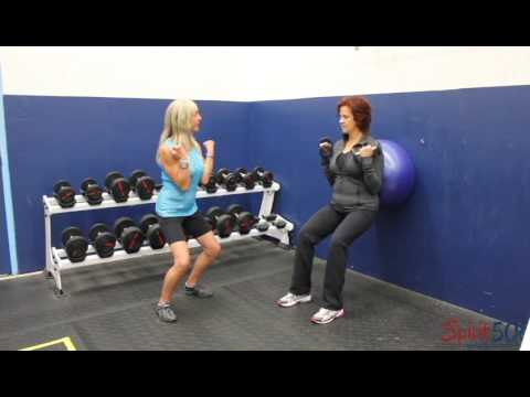 Bicep curl with a squat