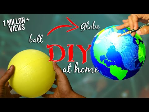 How to make a Globe using ball - DIY / Earth model making