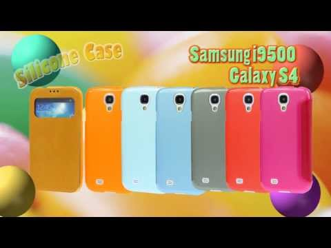 Silicone Case with Leather Flip Cover for Samsung i9500 Galaxy S4