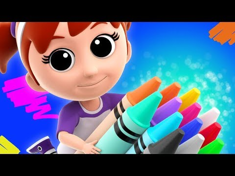 Crayons Color Song | Learn Colours | Nursery Rhymes For Children | Luke and Lily Cartoons