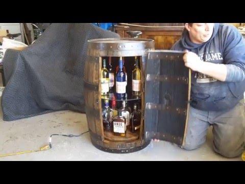 Barrelworx.com:  Glass Shelf & Lazy Susan Bourbon Barrel Liquor Cabinet