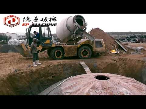 Working Videos of EP3.5 Self Loading Concrete Mixer Truck