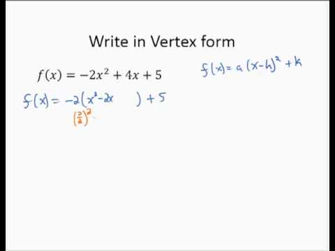 Convert Quadratic Standard to Vertex