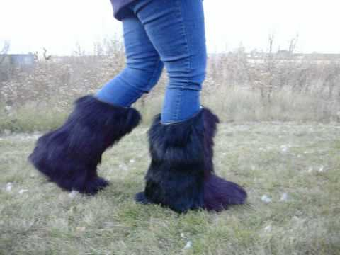 Knee High Black Fur Boots - Made Of Real Goat Fur