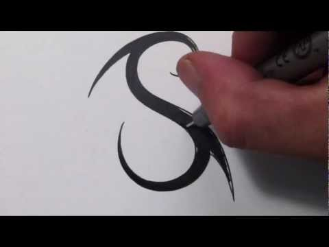How To Draw a Simple Tribal Letter S