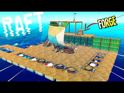 Raft: BECOMING A BLACKSMITH AND DEADLY SHARK ATTACK - Let's Play Raft Game - Raft Gameplay