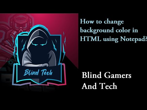 How to change background color in HTML using Notepad