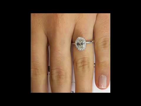 1 carat Oval Diamond Halo Engagement Ring