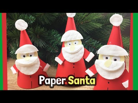 DIY crafts for Christmas - Cute paper Santa Claus craft with just paper and cosmetic tissues