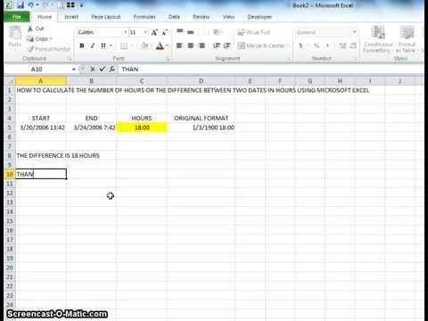 00028 - How To Calculate The Number Of Hours Between Two Dates Using Microsoft Excel