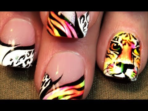 Tiger Nail Art | Neon Animal Print Summer Nails Design Tutorial