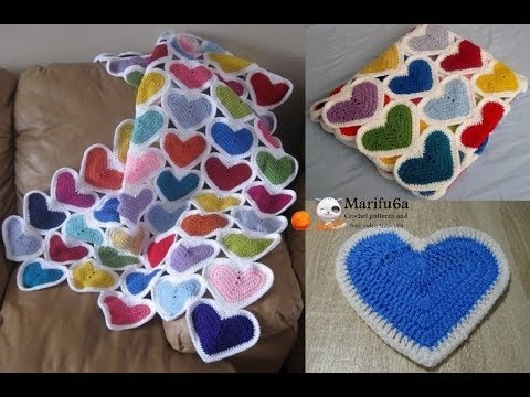 How to crochet heart afghan blanket free easy pattern tutorial for beginner