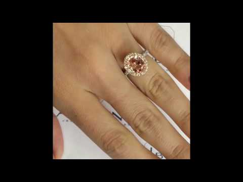 2.80 ct Oval Peach Sapphire Halo Engagement Ring