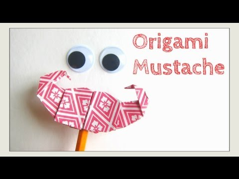 Father's Day Crafts - Origami Mustache/Moustache -How to Paper Mustache, Pencil Topper & Puppet