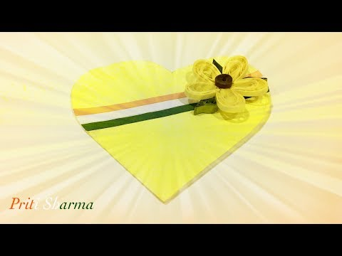 Heart Shape Greeting Card With Simple And Beautiful Paper Quilling Flower / Priti Sharma