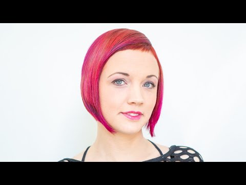 long to short haircut makeover | ruby red bob with short bangs ombre by anja herrig