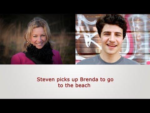 English Speaking Practice: Steven picks up Brenda to go to the beach