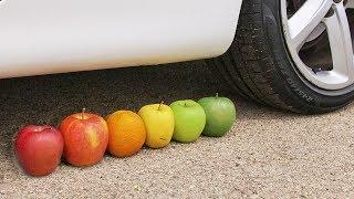 Crushing Crunchy & Soft Things by Car! - EXPERIMENT: FRUITS VS CAR 3