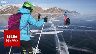 Skating Lake Baikal, the world