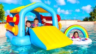 Wendy Pretend Play with a Giant Inflatable Playhouse Swimming Pool Toy