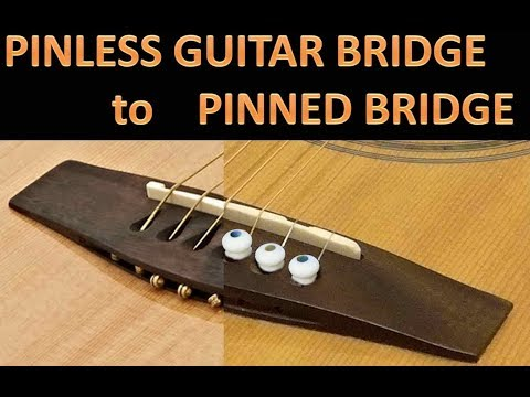 Pinless guitar bridge to pinned guitar bridge, easy lifted bridge repair.