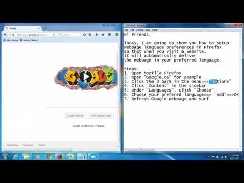 Change Mozilla Firefox language settings web