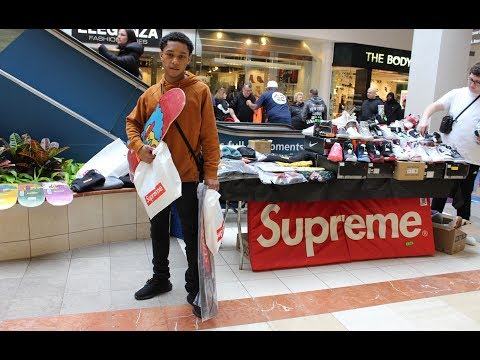 Buying hype beast Supreme items at 518 Sneakerfest